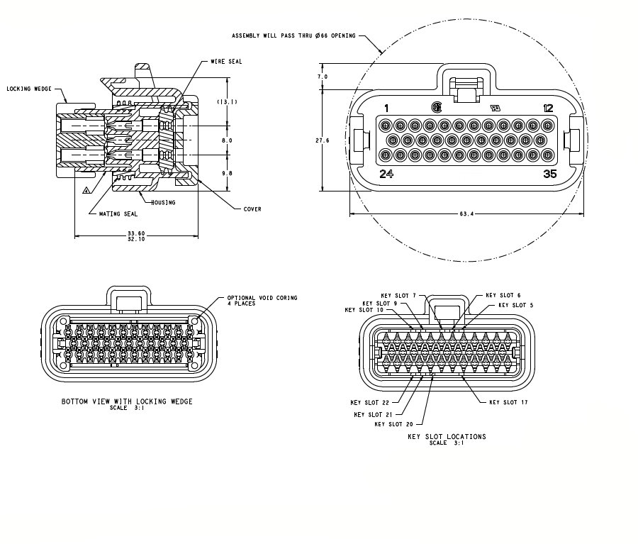 776164 5 35 Pin Ecu Waterproof Cable Wire Connectors
