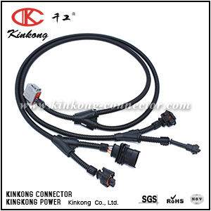 Automotive wiring harness with 6 pin Deutsch connector and Bosch connectors WD004
